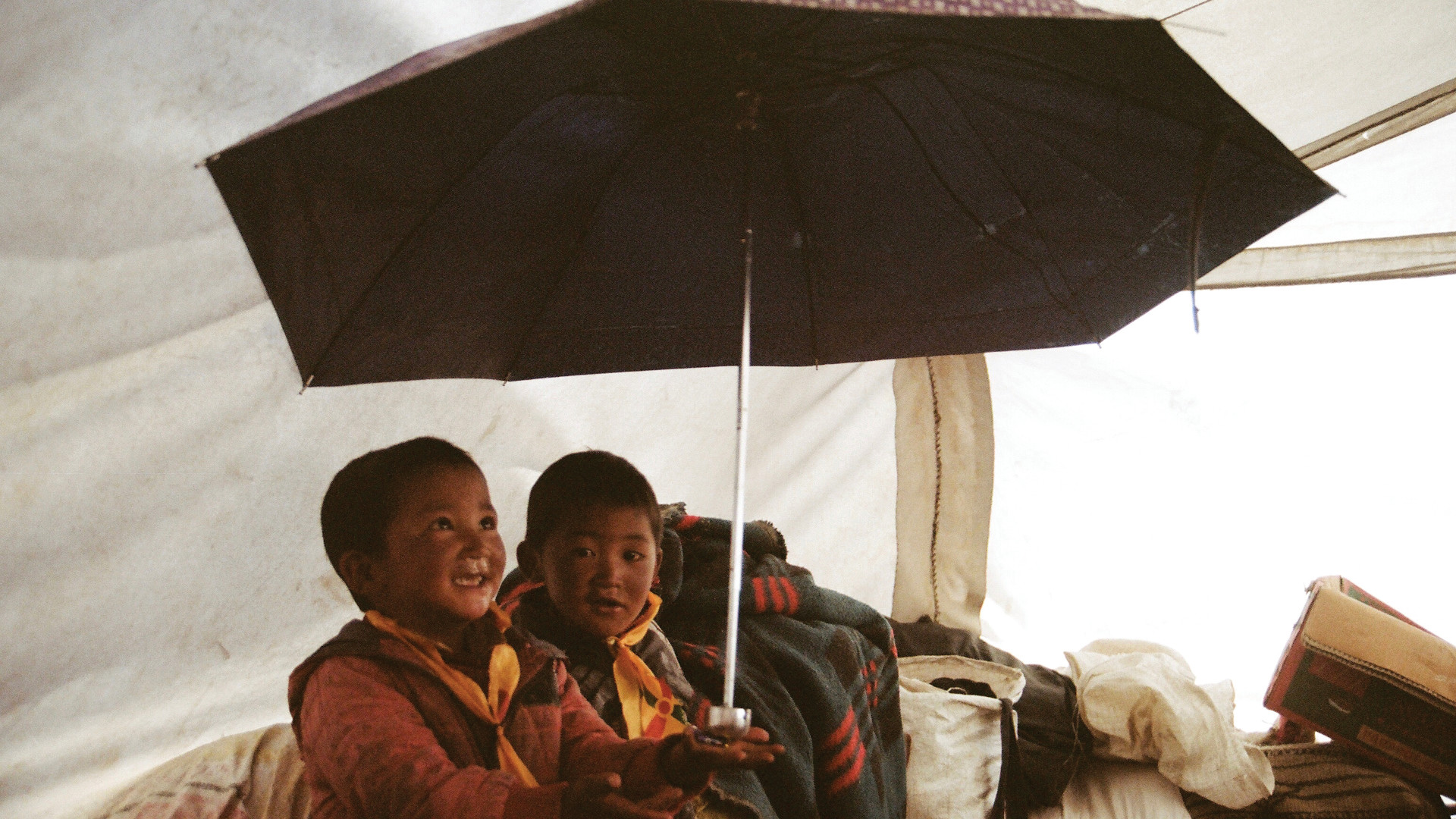 Two boys holding an umbrella
