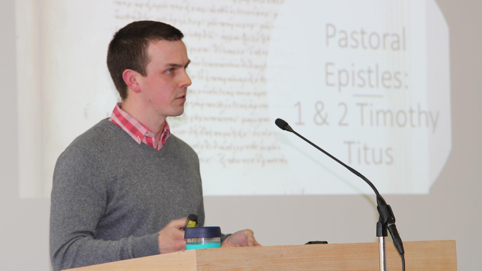 Chris Groszek speaking to an audience