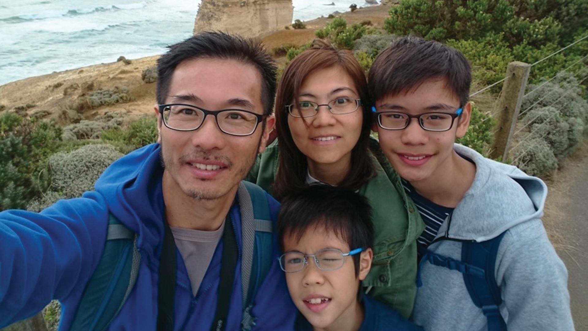 Jason Lam and family at the 12 Apostles
