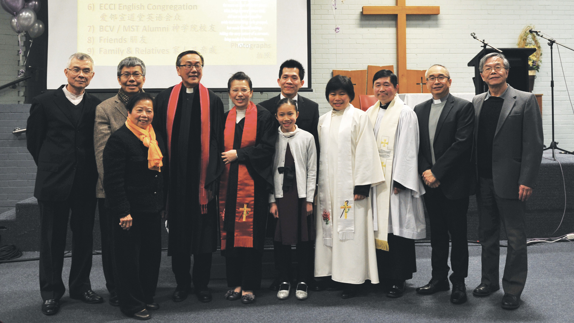 Rev Dorcas surrounded by family and MST Chinese staff at her ordination